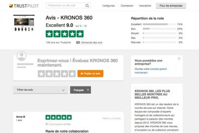 Kronos, one of the best second-hand watches website in Europe according to Truspilot