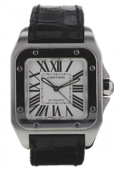 c495ebd06e94 CARTIER Santos 100 Medium ref 2878 Automatic - Leather Bracelet - Steel case